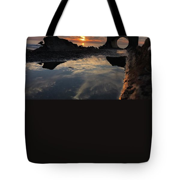Tote Bag featuring the photograph Sunset At The Beach by Alex King