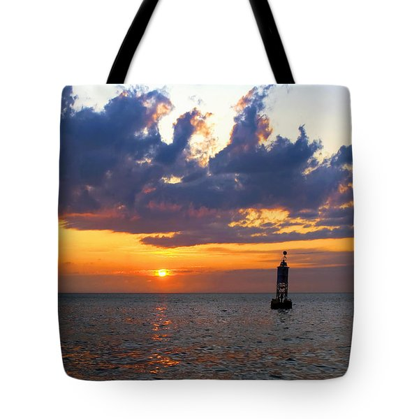 Sunset At The Bell Buoy Tote Bag
