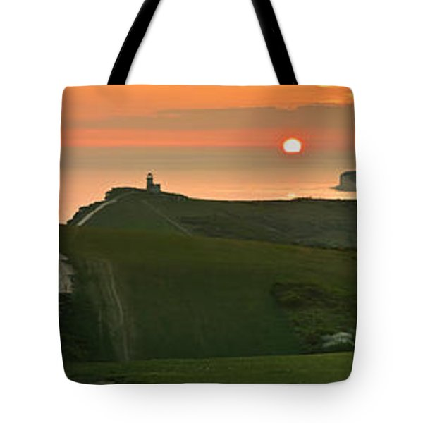 Sunset At The Belle Tout Lighthouse Tote Bag
