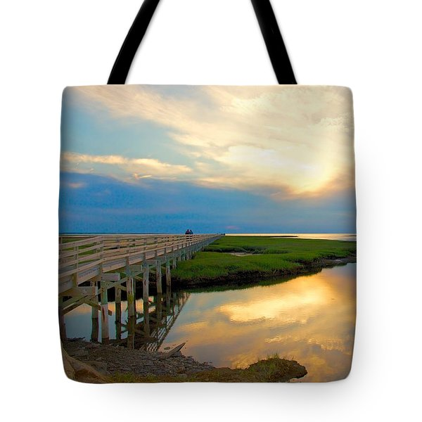 Tote Bag featuring the photograph Sunset At The Boardwalk by Amazing Jules