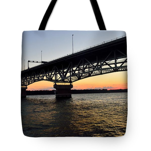 Sunset At The Coleman Bridge Tote Bag