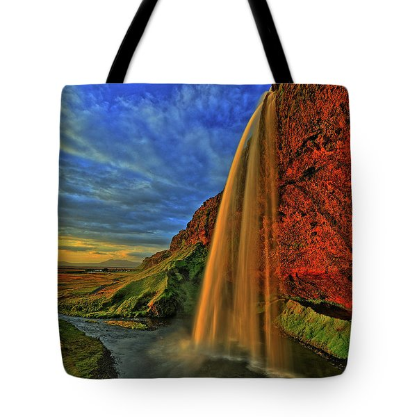 Tote Bag featuring the photograph Sunset At The Falls by Scott Mahon