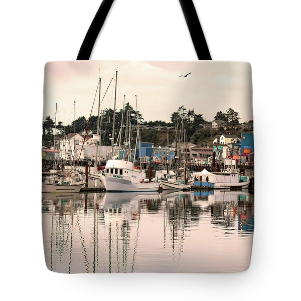 Tote Bag featuring the photograph Sunset At The Marina by Diane Schuster