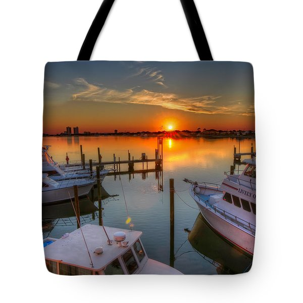 Sunset At The Marina Tote Bag by Tim Stanley