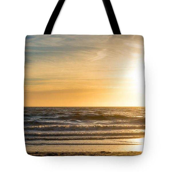 Tote Bag featuring the photograph sunset at the North Sea by Hannes Cmarits