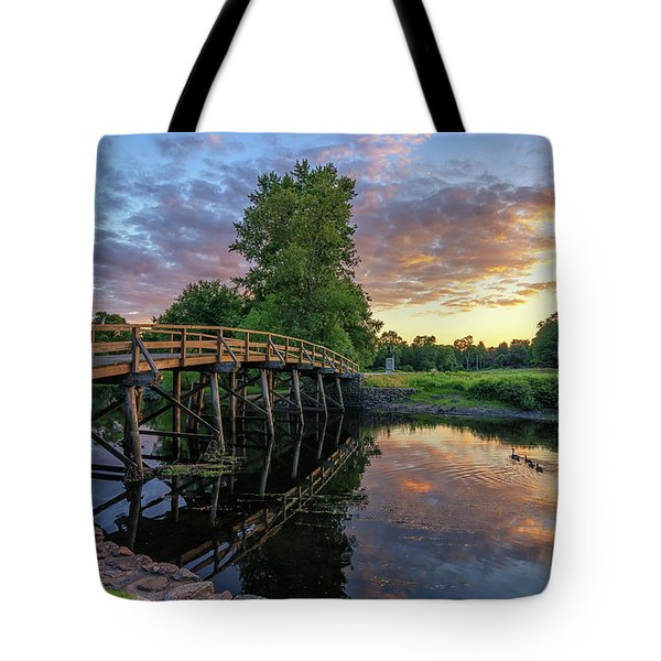 Sunset At The Old North Bridge Tote Bag