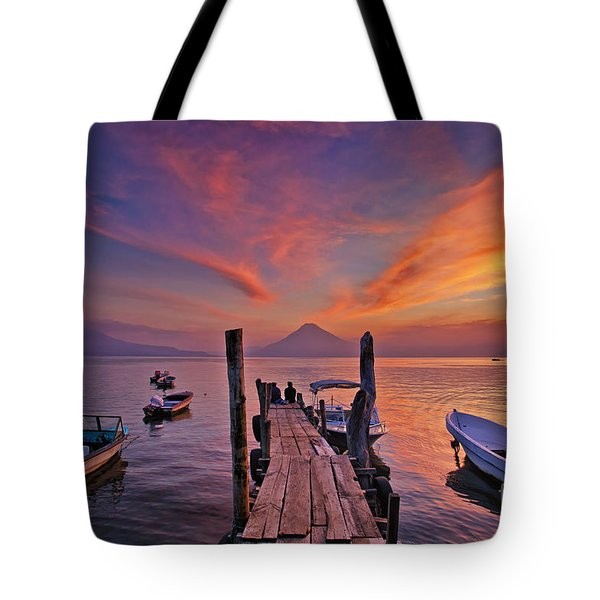 Sunset At The Panajachel Pier On Lake Atitlan, Guatemala Tote Bag