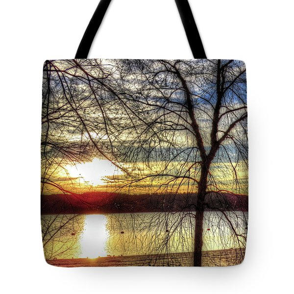 Tote Bag featuring the digital art Sunset At The Park by Kathleen Illes