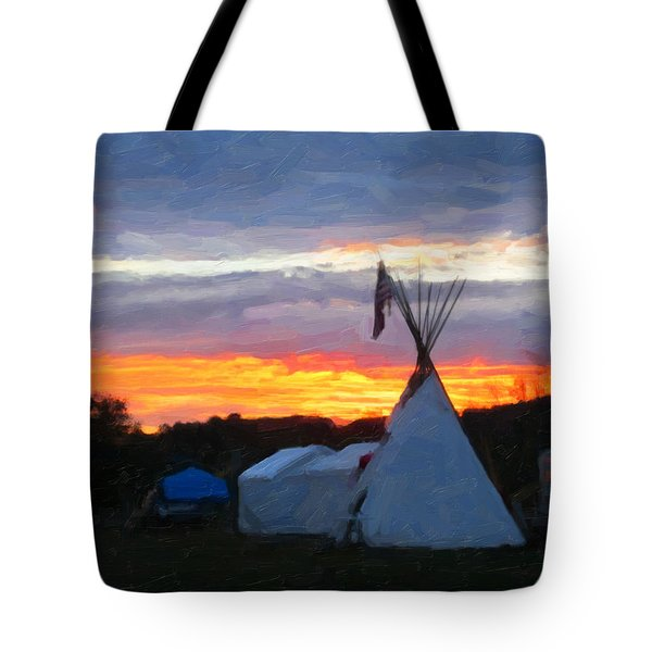 Sunset At The Powwow Tote Bag by Spyder Webb