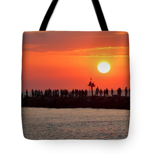 Sunset At The South Jetty, Venice, Florida, Usa Tote Bag