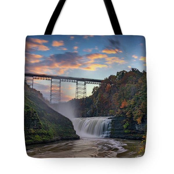 Sunset At The Upper Falls Tote Bag