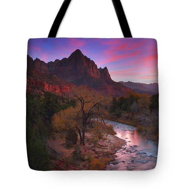 Sunset At The Watchman During Autumn At Zion National Park Tote Bag