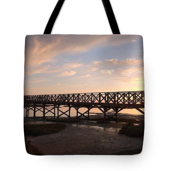 Sunset At The Wooden Bridge Tote Bag