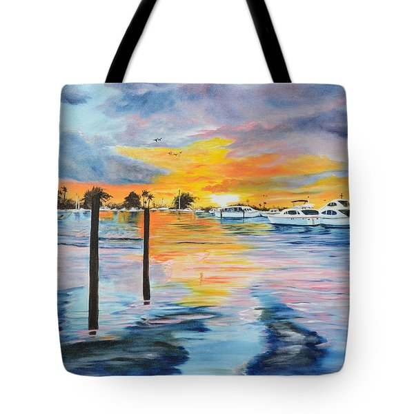 Sunset At The Yacht Club Tote Bag