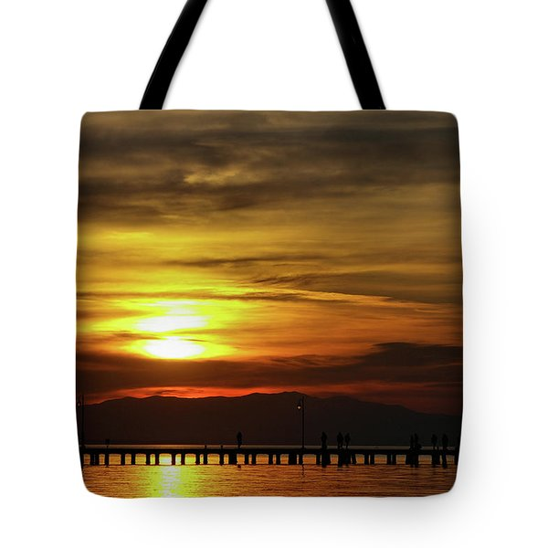Sunset At Thessaloniki Tote Bag by Tim Beach