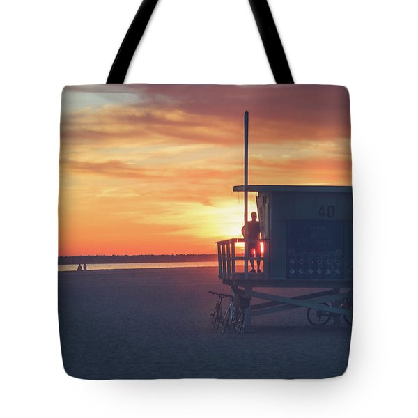 Sunset At Toes Beach Tote Bag
