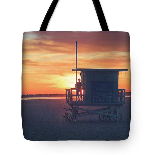 Sunset At Toes Beach Tote Bag