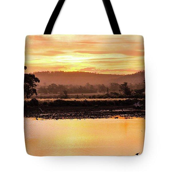 Sunset At Triabunna Tasmania Tote Bag by Lexa Harpell