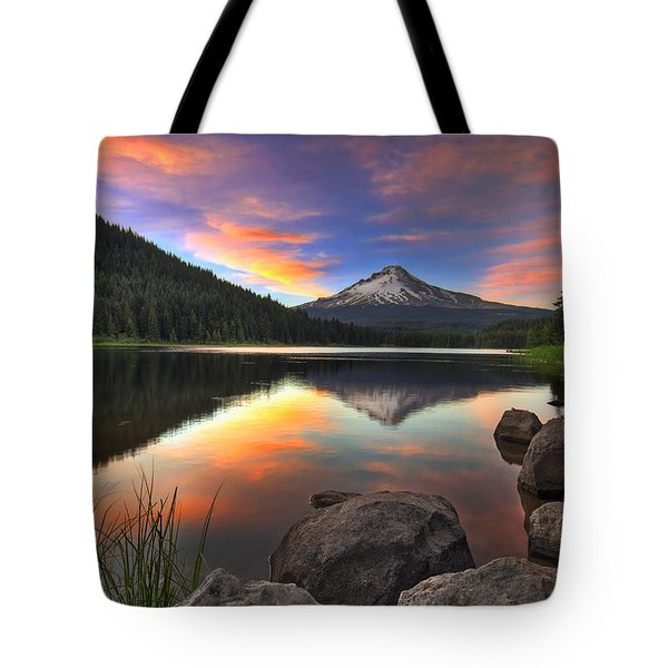 Sunset At Trillium Lake With Mount Hood Tote Bag