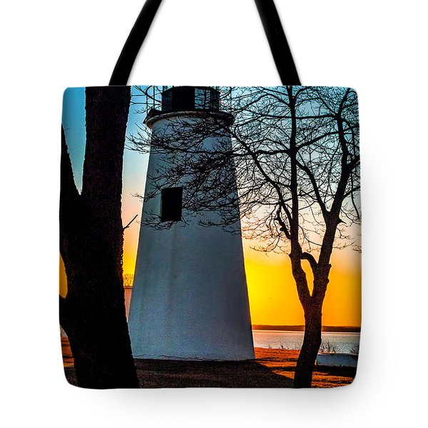 Tote Bag featuring the photograph Sunset At Turkey Point Lighthouse by Nick Zelinsky
