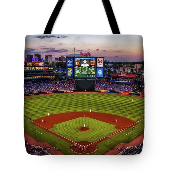 Sunset At Turner Field - Home Of The Atlanta Braves Tote Bag