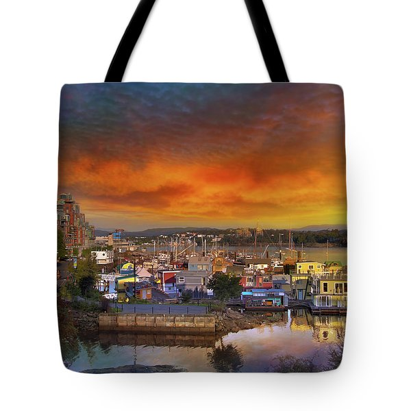 Sunset At Victoria Inner Harbor Fisherman's Wharf Tote Bag by David Gn