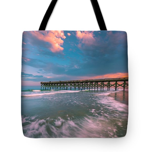 Tote Bag featuring the photograph Sunset At Wilmington Crystal Pier In North Carolina by Ranjay Mitra