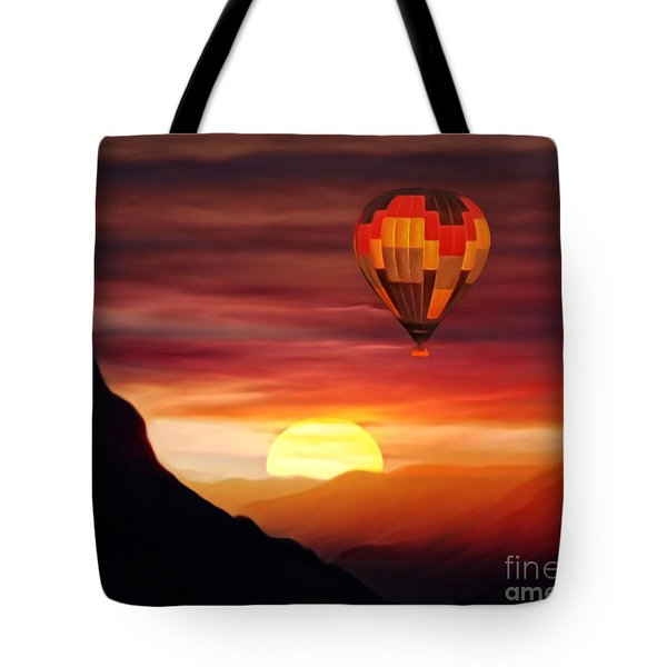 Tote Bag featuring the digital art Sunset Balloon Ride by Zedi