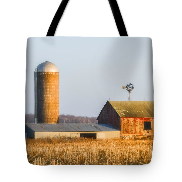 Tote Bag featuring the photograph Sunset Barn by Dan Traun