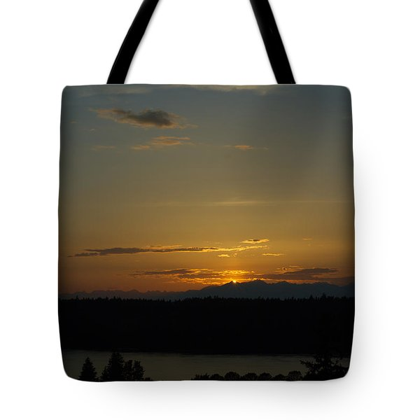 Sunset Behind Mountains Tote Bag