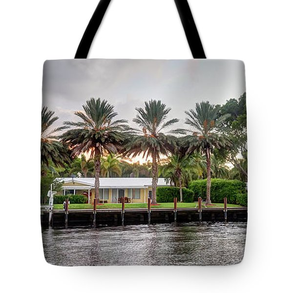 Sunset Behind Residential Palms Tote Bag