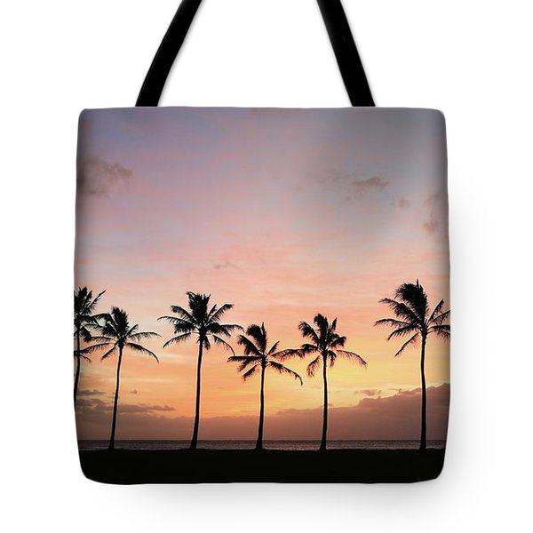 Sunset Behind The Palms Tote Bag