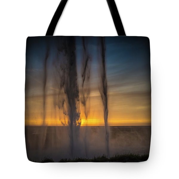 Sunset Behind The Waterfall Tote Bag by Chris McKenna