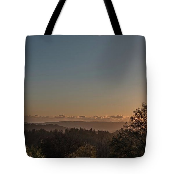 Sunset Behind Tree With Forest And Mountains In The Background Tote Bag