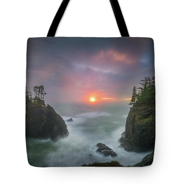 Tote Bag featuring the photograph Sunset Between Sea Stacks With Trees Of Oregon Coast by William Lee