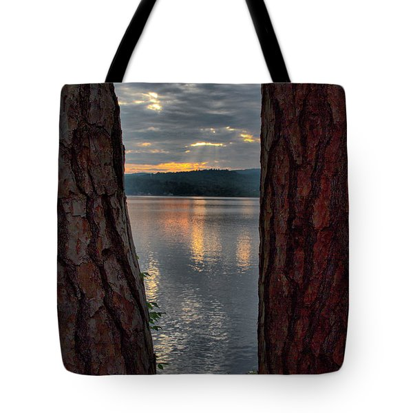 Tote Bag featuring the photograph Sunset Between Trees  by Betty Pauwels
