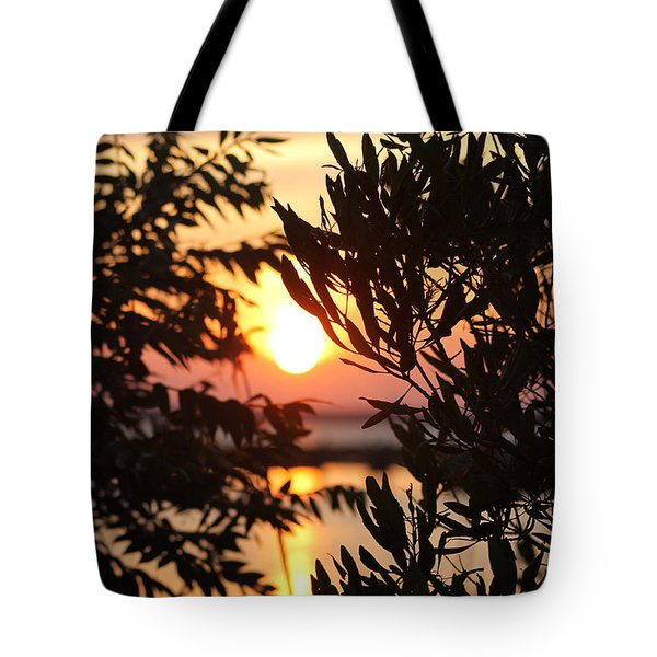 Sunset Beyond The Trees Tote Bag by Robert Banach