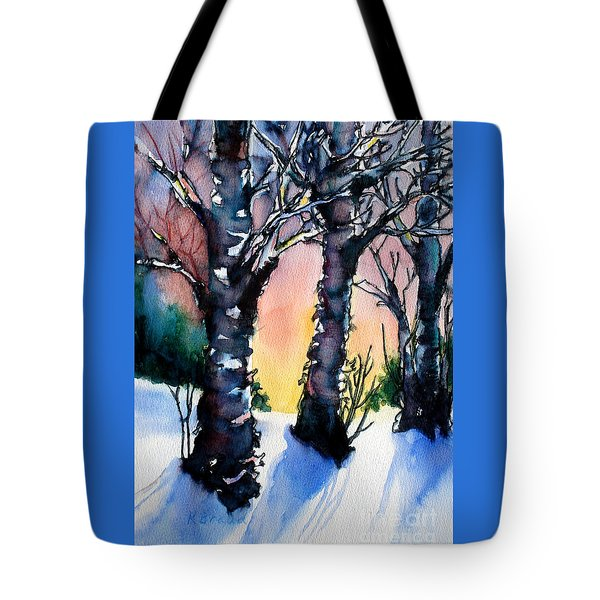 Sunset Birches On The Rise Tote Bag by Kathy Braud