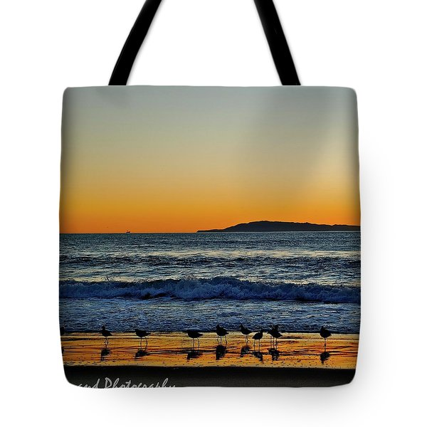 Sunset Bird Reflections Tote Bag