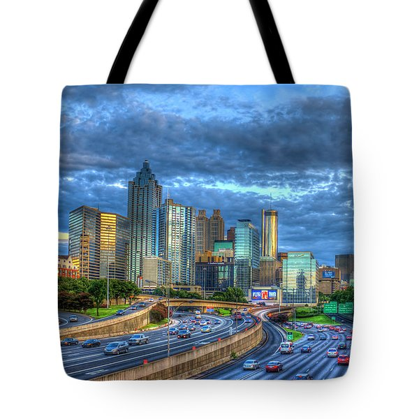 Tote Bag featuring the photograph Sunset Blue Glass Reflections Atlanta Downtown Cityscape Art by Reid Callaway