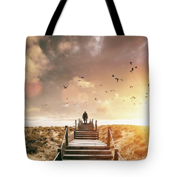 Sunset Boardwalk Tote Bag