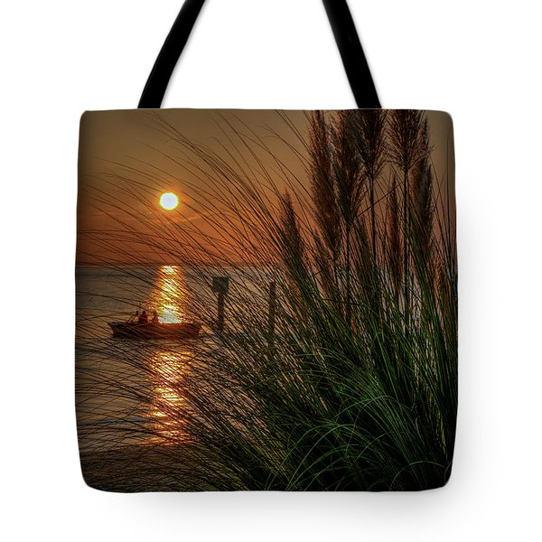 Sunset Boat Ride Tote Bag
