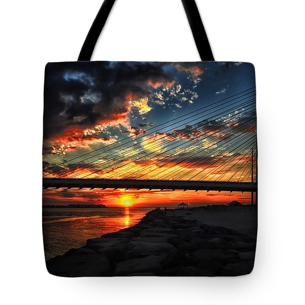 Sunset Bridge At Indian River Inlet Tote Bag