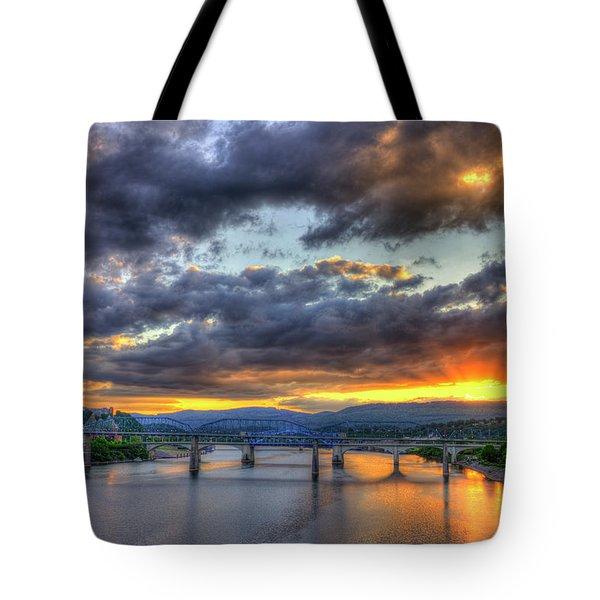 Sunset Bridges Of Chattanooga Walnut Street Market Street Tote Bag
