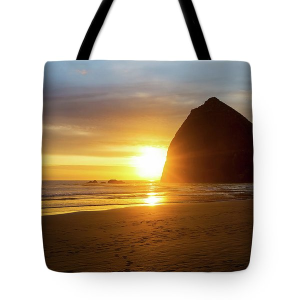 Sunset By Haystack Rock At Cannon Beach Tote Bag by David Gn