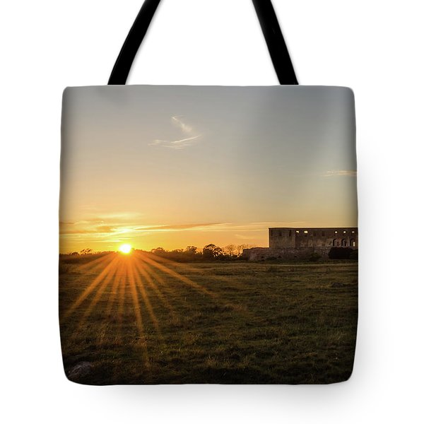 Sunset By Old Castle Ruin Tote Bag