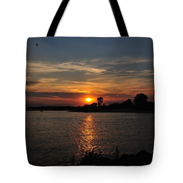 Tote Bag featuring the photograph Sunset By The Inlet by Angel Cher