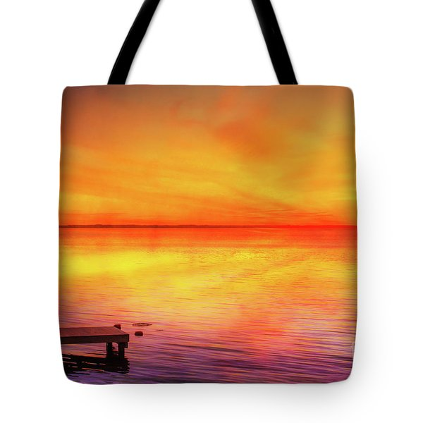 Tote Bag featuring the digital art Sunset By The Shore by Randy Steele