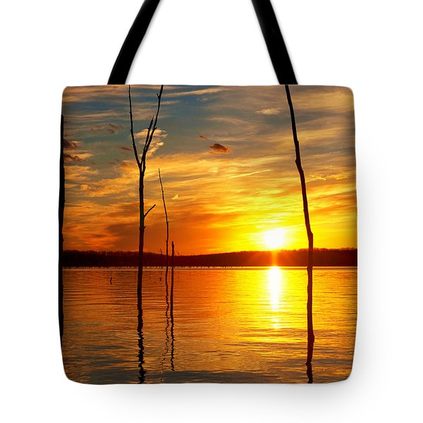 Tote Bag featuring the photograph Sunset By The Water by Angel Cher
