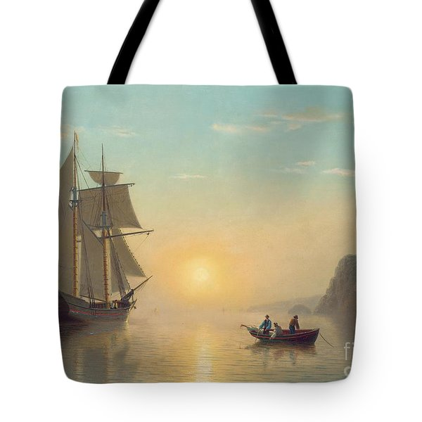 Sunset Calm In The Bay Of Fundy Tote Bag by William Bradford